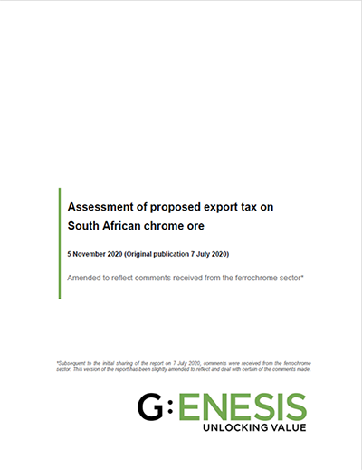 Assessment of proposed export tax on South African chrome ore [icon]